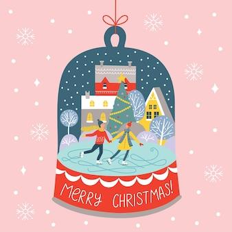 Kartka wesołych świąt i wesołych świąt z uroczą parą na łyżwach na lodowisku w śnieżnej kuli