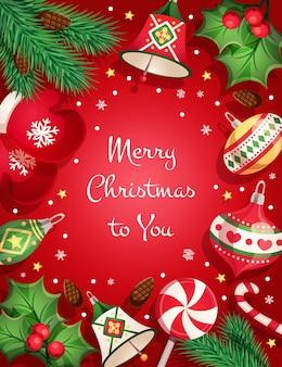 Kartka wesołych świąt z elementami dekoracyjnymi i przedmiotami: gałęzie drzew, zielone liście, girlandy, zabawki, spiralny lizak, dzwonek, jagoda, cukierkowa laska, płatki śniegu i gwiazdki