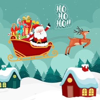 Kartka wesołych świąt z mikołajem musi jeździć saniami.
