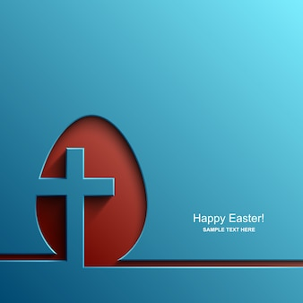 Kartka wielkanocna w kształcie jajka z wizerunkiem krzyża chrześcijańskiego, tło wielkanocne