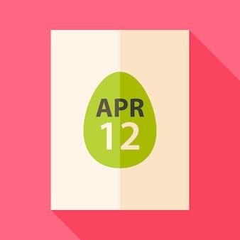 Kartka wielkanocna z datą 12 kwietnia i jajkiem. płaska stylizowana ilustracja z cieniem
