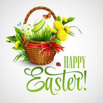 Kartka wielkanocna z koszem, jajkami i kwiatami.