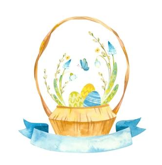 Kartka wielkanocna z koszykiem wikliny i niebieską wstążką ilustracji