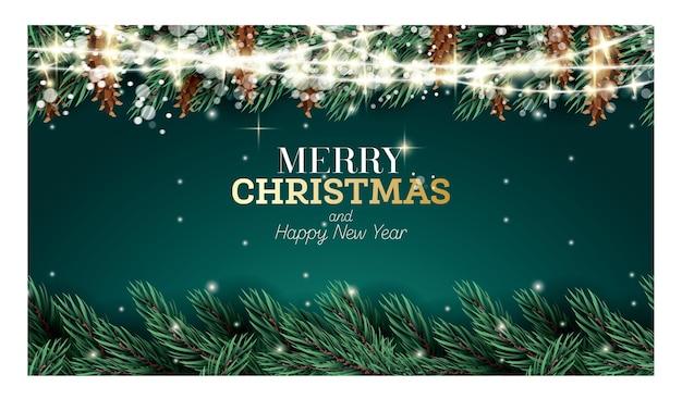 Kartka z gałązką jodły, girlandą, szyszkami i płatkami śniegu. wesołych świąt i szczęśliwego nowego roku koncepcja.