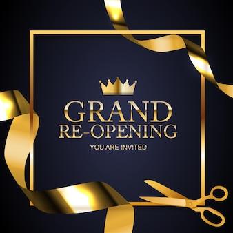 Kartka z gratulacjami z okazji wielkiego otwarcia ze złotą wstążką i nożyczkami