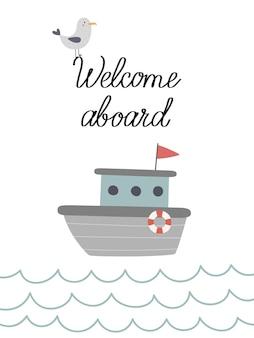 Kartka z łodzią na falach witamy na pokładzie
