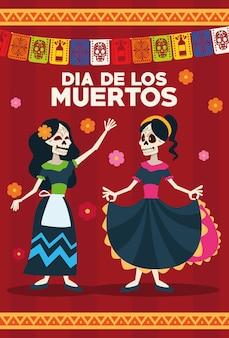 Kartka z okazji dia de los muertos ze szkieletami dziewczyn i girlandami