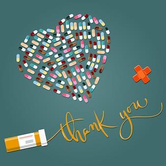 Kartka z podziękowaniami dla lekarza pielęgniarki lub farmakologa serduszko z pigułki i kaligrafia z podziękowaniami
