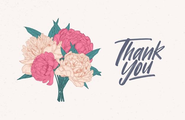 Kartka z podziękowaniami ozdobiona bukietem przepięknych kwitnących piwonii.