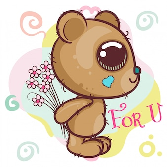 Kartka z pozdrowieniami kreskówka niedźwiedź z kwiatami - wektor