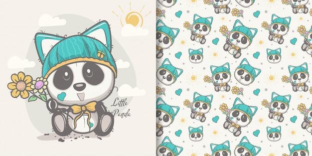 Kartka z pozdrowieniami śliczna kreskówki panda z bezszwowym wzorem
