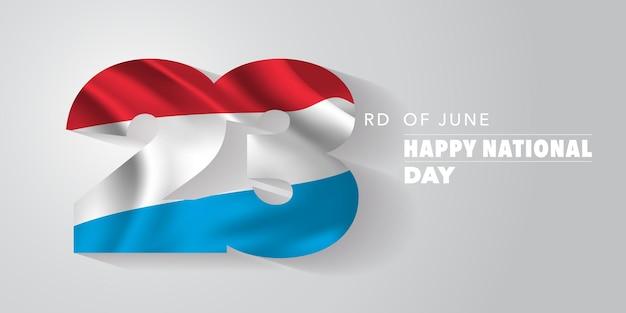 Kartka z pozdrowieniami szczęśliwego narodowego dnia luksemburga, baner, ilustracja