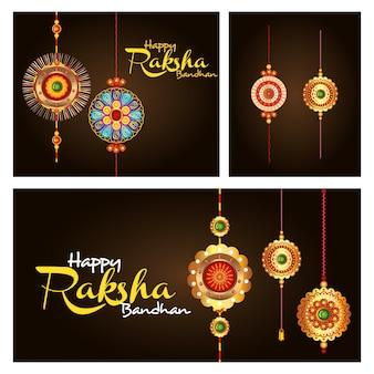 Kartka z pozdrowieniami z dekoracyjnym setem rakhi dla raksha bandhan, indyjski festiwal dla brata i siostry więzi uczuciowej świętowania wektorowego ilustracyjnego projekta