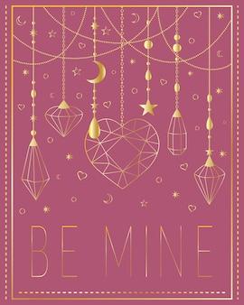 Kartka z życzeniami be mine złota biżuteria na różowym tle