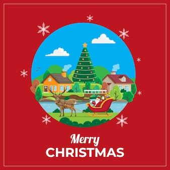 Kartka z życzeniami bożonarodzeniowymi ze świętym mikołajem i reniferem