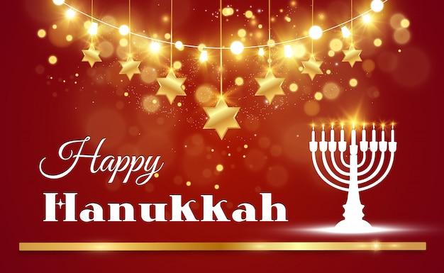 Kartka z życzeniami chanuka na pięknym tle z gwiazdami dawida i izraelskim świecznikiem.