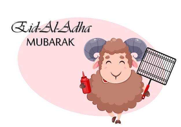 Kartka z życzeniami eid al adha mubarak z kreskówkową owcą ofiarną na obchody tradycyjnego muzułmańskiego festiwalu ram z siatką grillową i keczupem