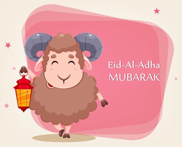 Kartka z życzeniami eid al adha mubarak z owcami ofiarnymi z kreskówek na obchody tradycyjnego święta muzułmańskiego zabawna postać barana z latarnią