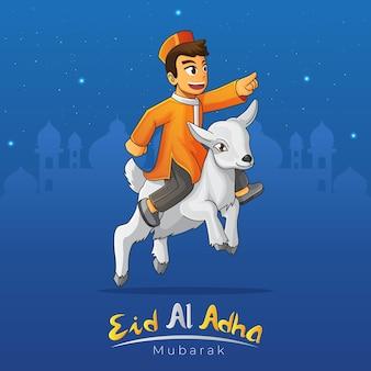 Kartka z życzeniami eid al adha ze skaczącą kozą z muzułmańskim chłopcem