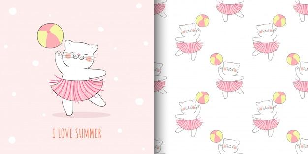 Kartka z życzeniami i wzór kota z piłką na lato.