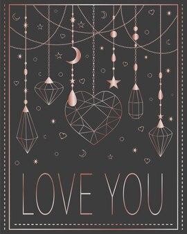 Kartka z życzeniami kocham cię perłowa biżuteria na szarym tle