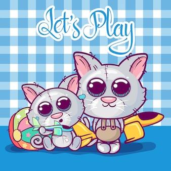 Kartka z życzeniami kocięta chłopiec i dziewczyna na tle zabawek