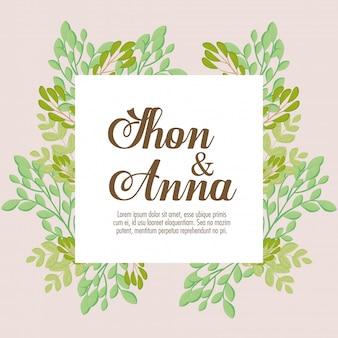Kartka z życzeniami, kwadratowa ramka z gałęziami i liśćmi, zaproszenie na ślub z dekoracją gałęzi i liści