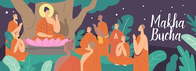 Kartka z życzeniami makha bucha. budda siedzący w kwiecie lotosu pod drzewem bodhi w nocy otoczony buddyjskimi mnichami ubranymi w pomarańczowe szaty. nauczanie postaci buddy. ilustracja wektorowa kreskówka ludzie