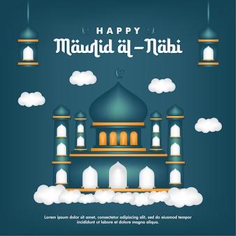 Kartka z życzeniami mawlid al-nabi narodziny proroka na tle meczetu