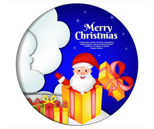 Kartka z życzeniami na boże narodzenie z mikołajką i pudełkiem prezentowym