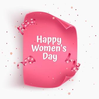 Kartka z życzeniami na dzień kobiet z różowym skręcanym papierem