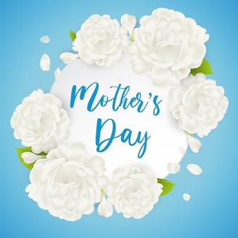 Kartka z życzeniami na dzień matki z pięknym białym kwiatem jaśminu. doskonała realistyczna ilustracja.