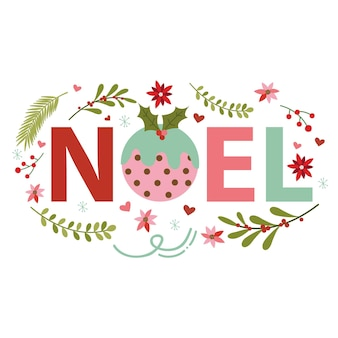 Kartka z życzeniami świątecznymi z projektem litery noel