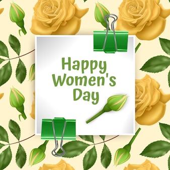 Kartka z życzeniami szczęśliwego dnia kobiet, karta z bez szwu, niekończące się tło z jasnymi żółtymi różami i zielonymi liśćmi.