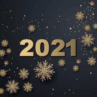 Kartka z życzeniami szczęśliwego nowego roku 2021. bombki choinkowe w kolorze metalicznego złota, dekoracja, połyskujące, błyszczące konfetti