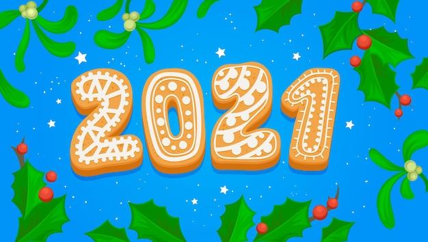 Kartka z życzeniami szczęśliwego nowego roku 2021 z typografią gingerbread cookie na niebiesko