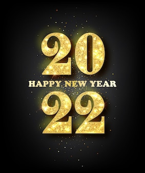 Kartka z życzeniami szczęśliwego nowego roku 2022 ze złotymi cyframi