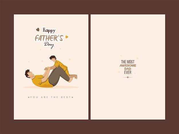Kartka z życzeniami szczęśliwy dzień ojca z miejscem na tekst na brązowym ba