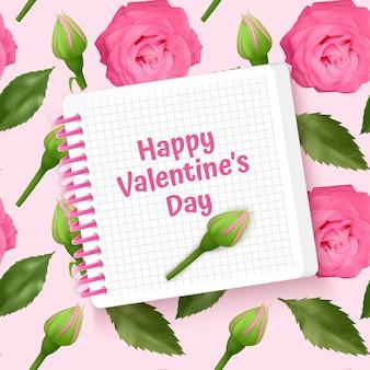 Kartka z życzeniami szczęśliwych walentynek, karta z bez szwu, niekończące się tło z jasnymi różowymi różami i zielonymi liśćmi