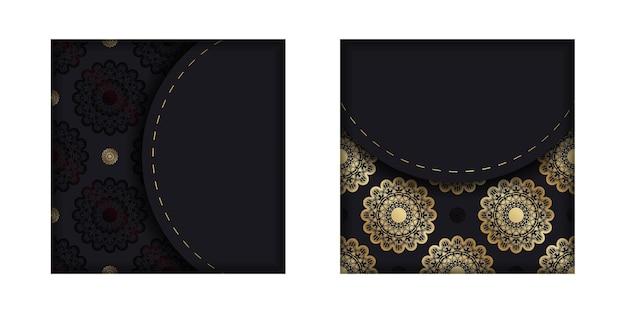 Kartka z życzeniami w kolorze czarnym ze złotą mandalą na gratulacje.