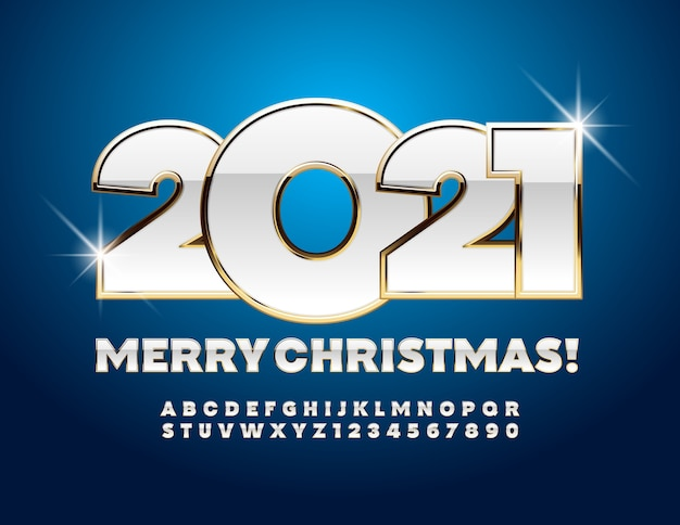 Kartka z życzeniami wesołych świąt 2021! złote i białe litery alfabetu i symbole. chic font