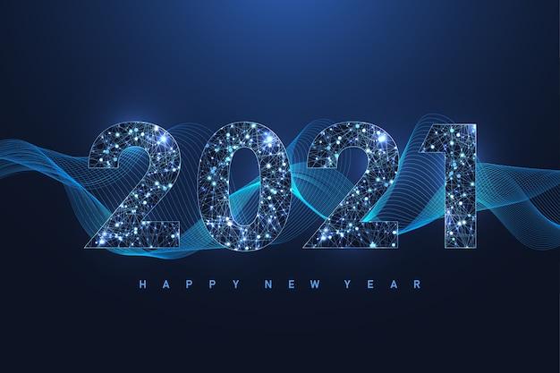 Kartka z życzeniami wesołych świąt i szczęśliwego nowego roku 2021, plakat, okładka. nowoczesny futurystyczny szablon na rok 2021. cyfrowa wizualizacja danych. efekt geometryczny splotu.