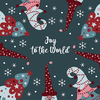 Kartka z życzeniami wesołych świąt z choinkami, płatkami śniegu i skandynawskimi krasnoludkami