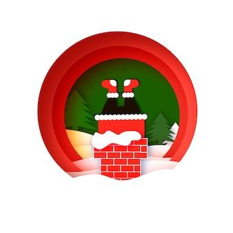 Kartka z życzeniami wesołych świąt z mikołajem utkniętym w kominie. szczęśliwego nowego roku w stylu papercraft. czerwony. ferie. okrągła ramka.