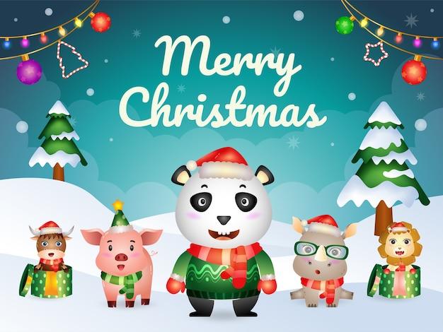 Kartka z życzeniami wesołych świąt z postaciami uroczych zwierzątek: panda, nosorożec, lew, świnia i bawół
