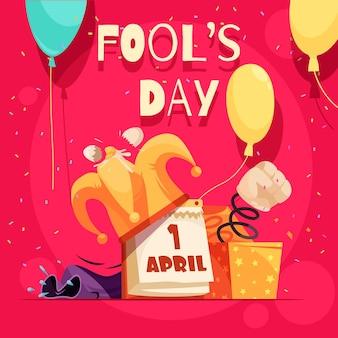 Kartka z życzeniami wszystkich głupców z edytowalnym tekstem i doodle obrazów kalendarza jokera i tekstu