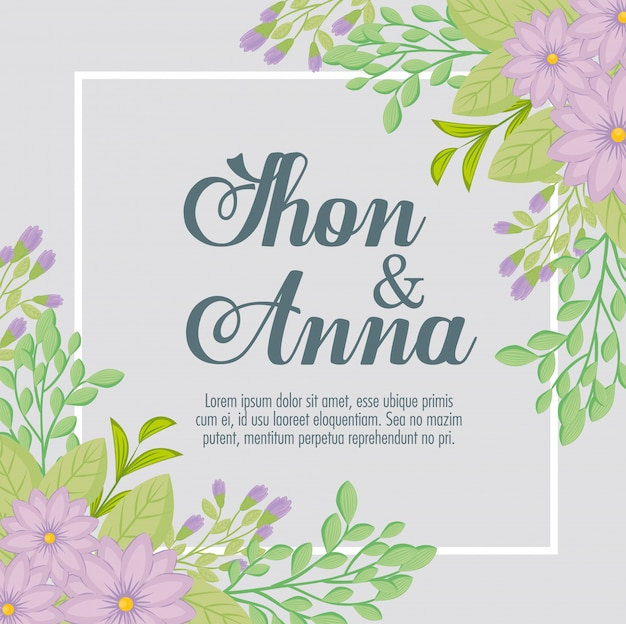 Kartka z życzeniami z kwiatami w kolorze fioletowym z kwadratową ramką, zaproszenie na ślub z kwiatami w kolorze fioletowym z dekoracją gałęzi i liści