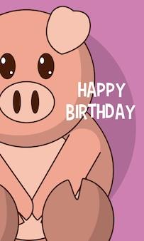 Kartka z życzeniami z okazji urodzin wieprzowych