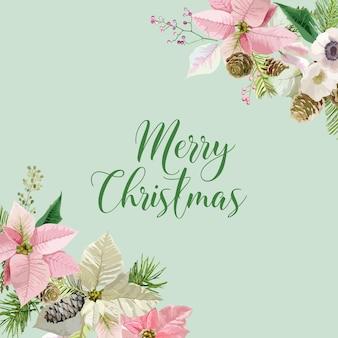 Kartka z życzeniami z zimowymi bożonarodzeniowymi ptakami