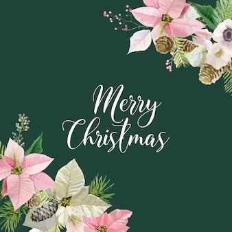 Kartka z życzeniami zimowych świątecznych kwiatów